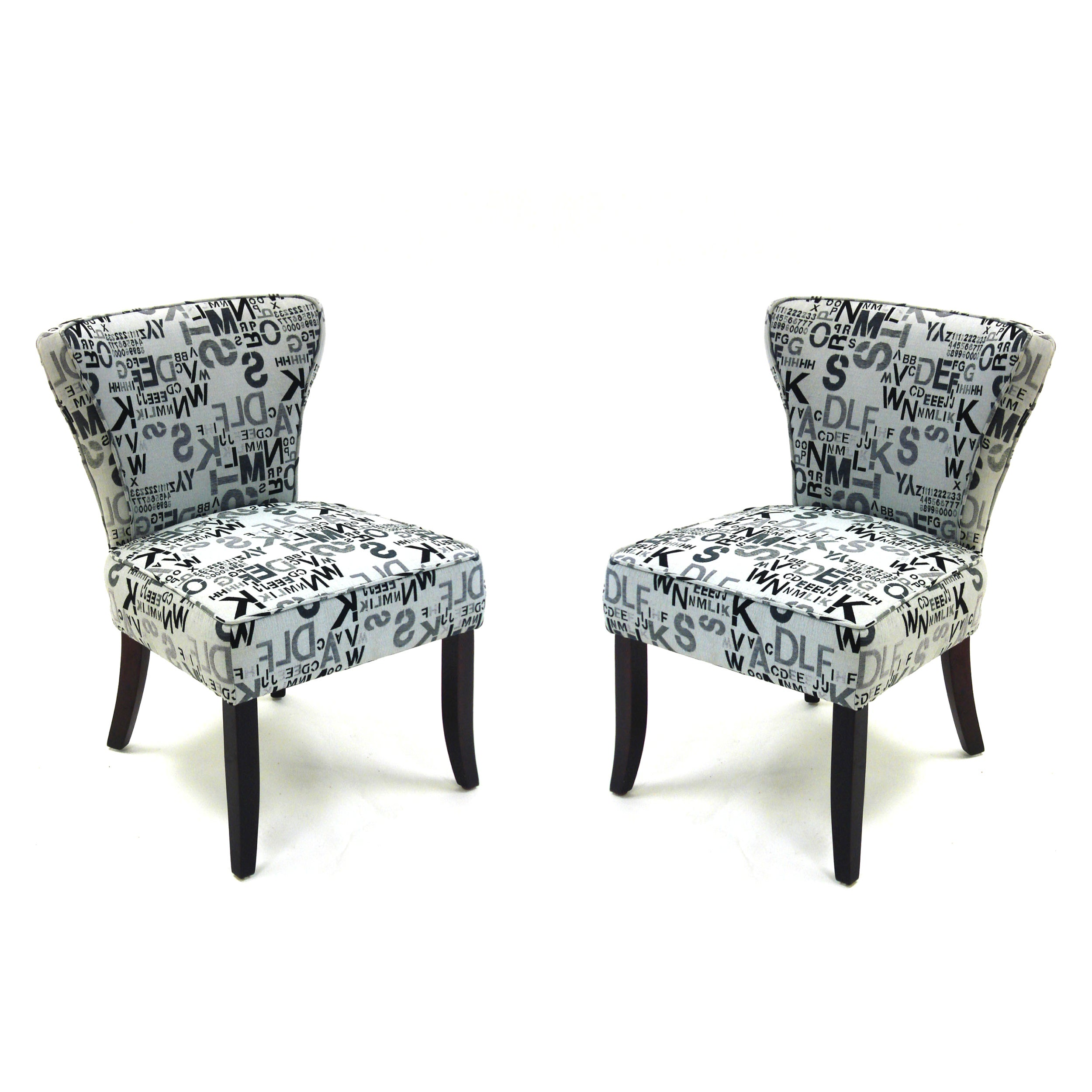 Designer Accent Chairs: Modern Letters Accent Chairs In Alpha Letters Fabric (Set