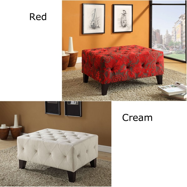 Tuffted Red / Cream Fabric Ottoman