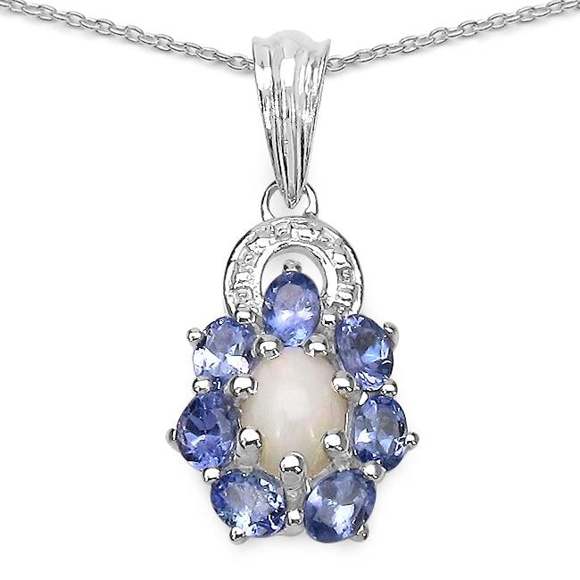 Malaika Sterling Silver 1 3/5ct TGW Opal and Tanzanite Necklace
