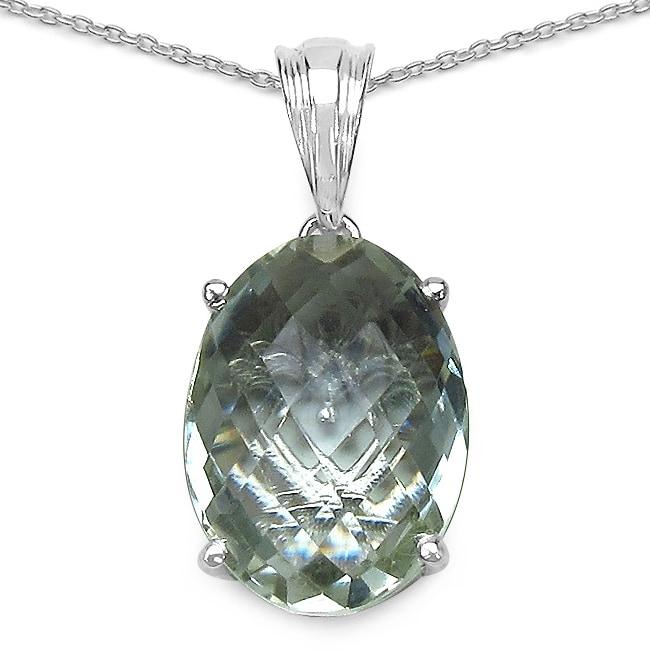Malaika Sterling Silver 8 1/6ct TGW Green Amethyst Necklace