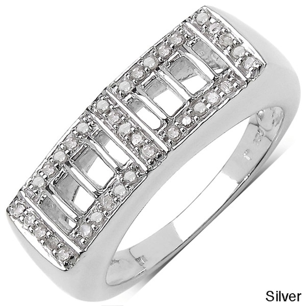 Malaika Sterling Silver Men's 1/5ct TDW Diamond Ring (I-J, I3)