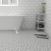 SomerTile 11.75x11.75-inch Academy Light Grey Porcelain Mosaic Floor and Wall Tile (10 tiles/9.62 sqft.)