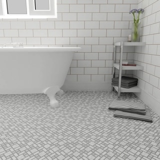 SomerTile 11.75x11.75 Inch Academy Light Grey Porcelain Mosaic Floor And  Wall Tile