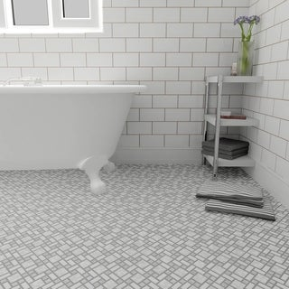 SomerTile 11.75x11.75-inch Academy Light Grey Porcelain Mosaic Floor and Wall Tile (10 tiles/9.8 sqft.)