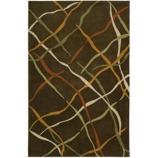 "Nourison Striped Hand-Tufted Dimensions Brown Rug (7'6"" x 9'6"")"