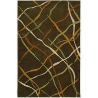 Nourison Striped Hand-Tufted Dimensions Brown Rug - 7'6 x 9'6