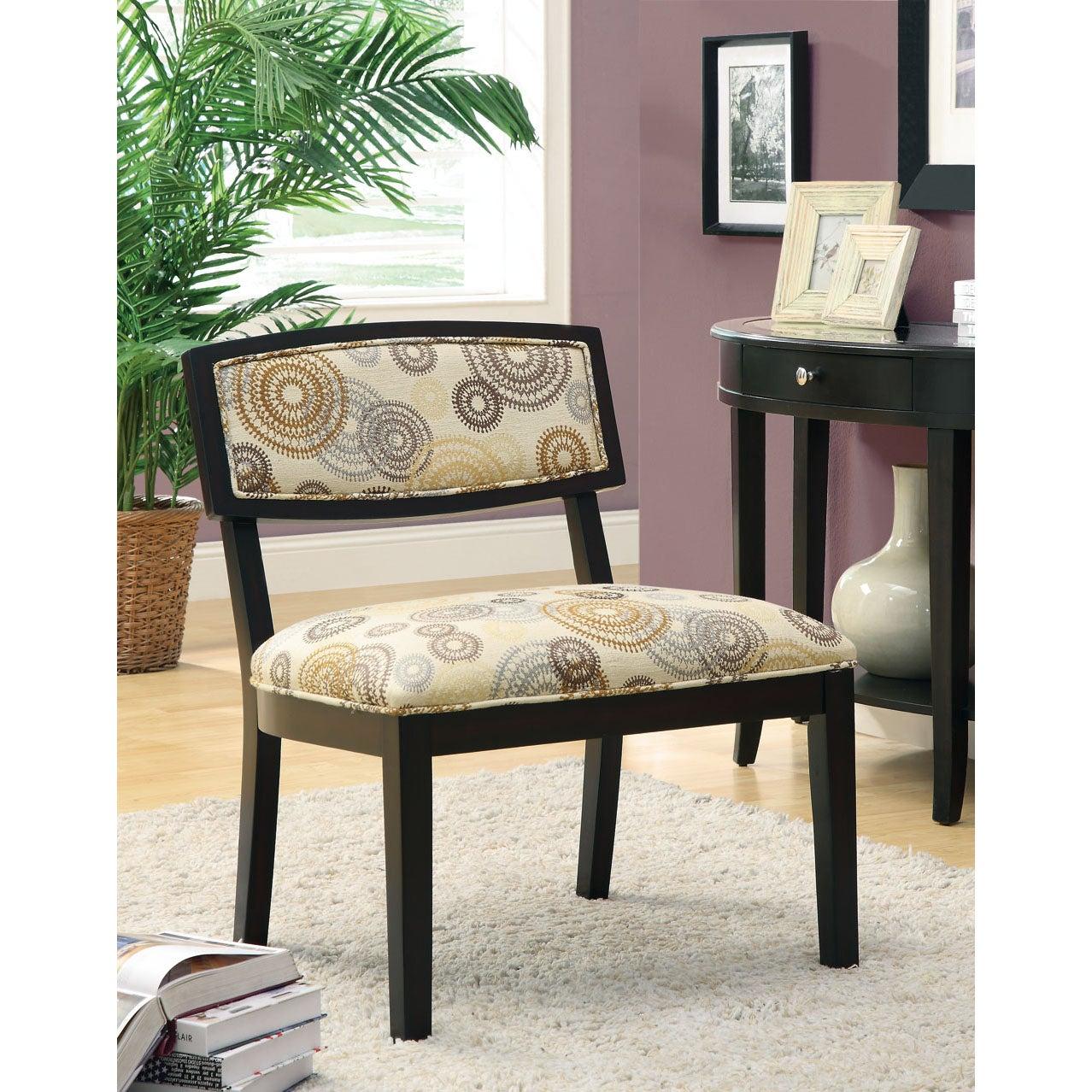 Circular Earthtone Fabric/ Cappuccino Accent Chair