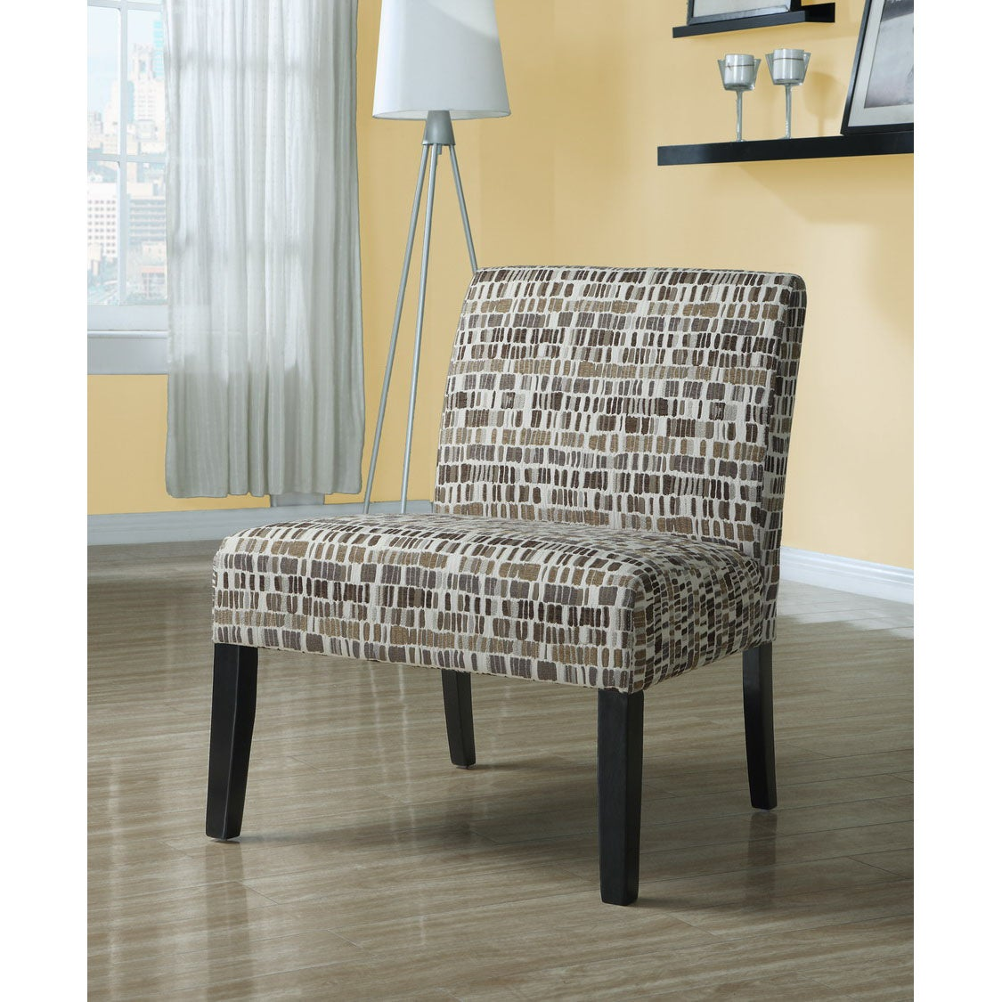 Beige Olive Green Textured Brick Fabric Accent Chair