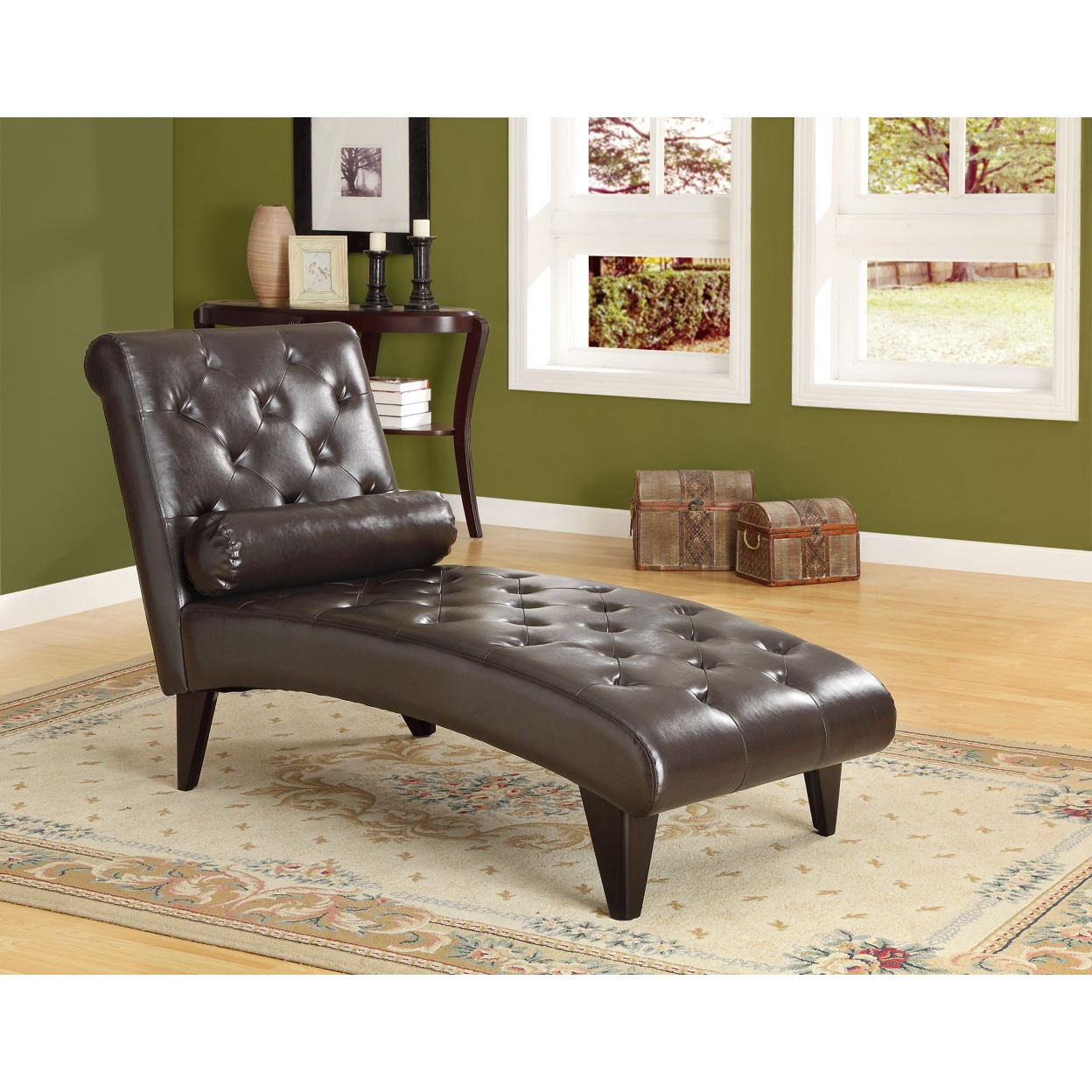 Dark brown leather look chaise lounger with decorative for Chaise decorative