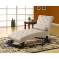 Taupe Velvet Fabric Chaise Lounger
