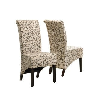 tan swirl parson chair set of 2