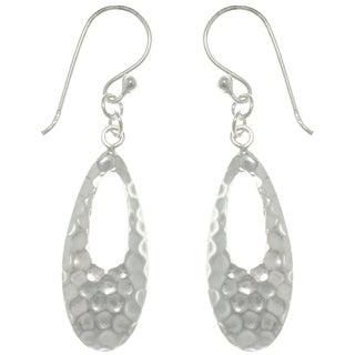 Sterling Silver Hammered Teardrop Dangle Earrings
