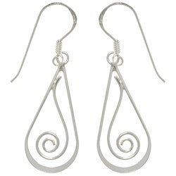 Carolina Glamour Collection Sterling Silver Teardrop with Spiral Dangle Earrings