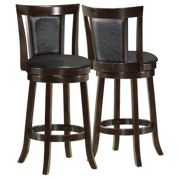 Black Cappuccino Wood 39 Inches High Swivel Counter Stool