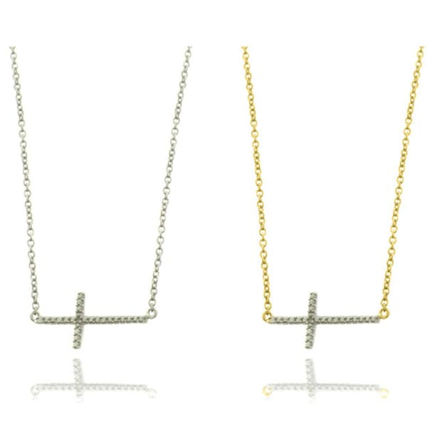 Finesque 14k Gold Overlay/ Silver Diamond Accent Cross Necklace