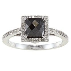 Victoria Kay 14k Gold 1 1/4ct TDW Princess Cut Black and White Diamond Ring