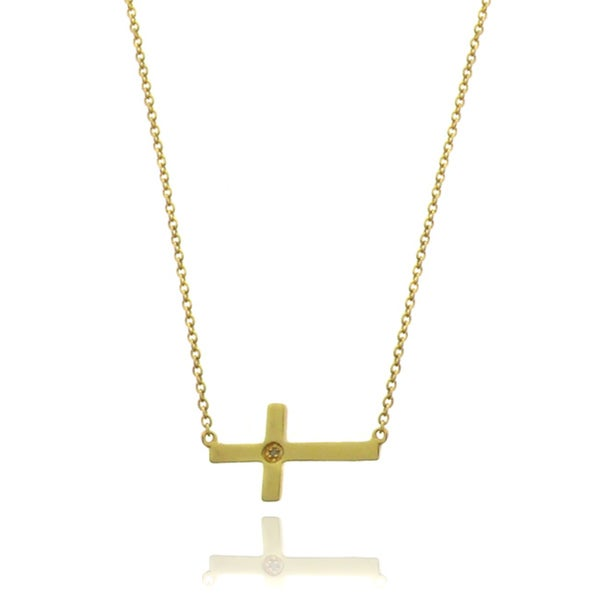 Finesque 18k Gold over Silver Diamond Accent Cross Necklace