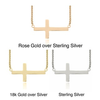 Dolce Giavonna Sterling Silver Sideways Cross Necklace