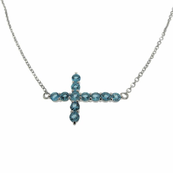 Dolce Giavonna Sterling Silver Swiss Blue Topaz Sideways Cross Necklace