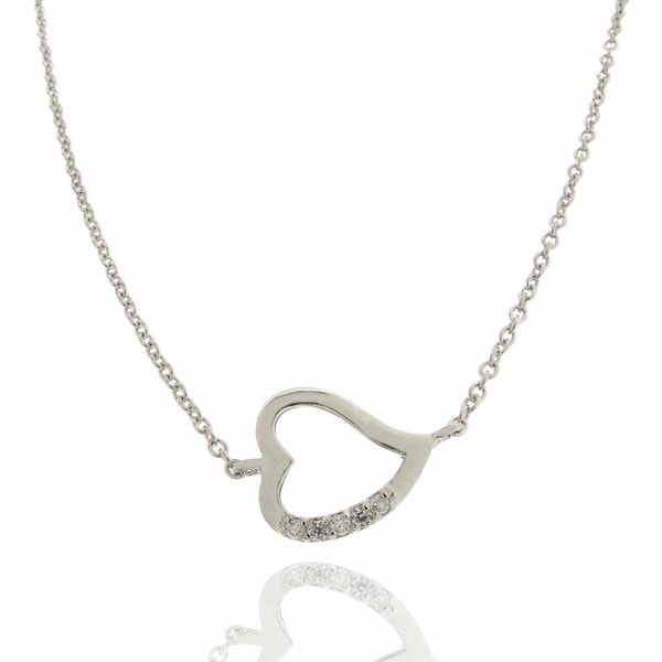 Dolce Giavonna Sterling Silver Clear Cubic Zirconia Open Heart Necklace
