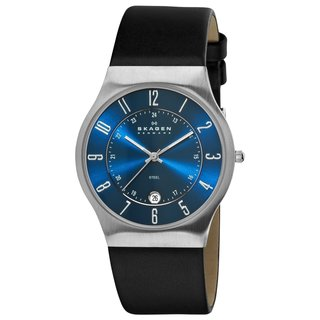 Skagen Men's Classic Black Leather Quartz Watch with Blue Dial