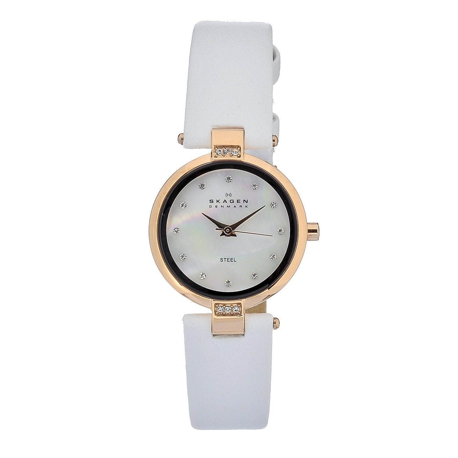 e83af3e0c Shop Skagen Women's Leather Collection Austrian Crystal Round White Strap  Watch - Free Shipping Today - Overstock - 6803587