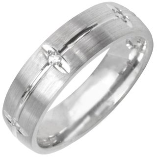 14k White Gold Men's 1/8ct TDW Diamond Wedding Band