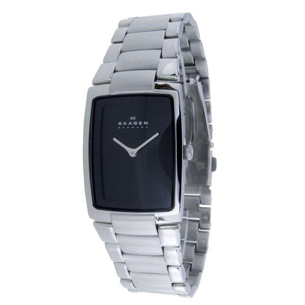 Skagen Men's Stainless Steel Rectangle Black Dial Link Watch