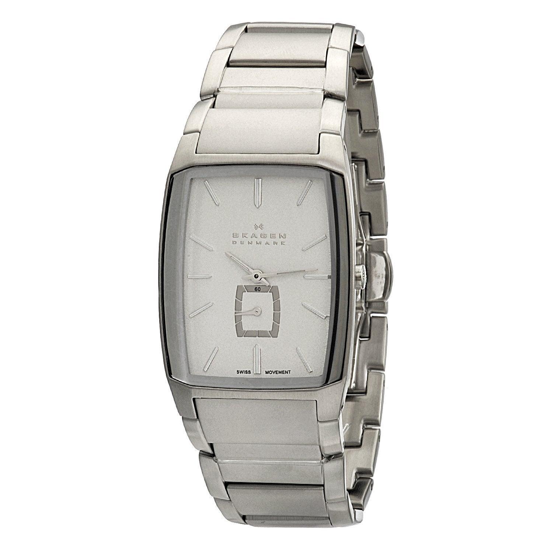 Skagen Men's Black Label Rectangle Stainless Steel Link Watch