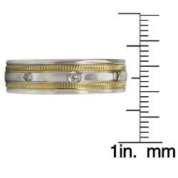 14k Two-tone Gold Men's 1/6ct TDW Diamond Wedding Band (G-H, SI1-SI2) - Thumbnail 2