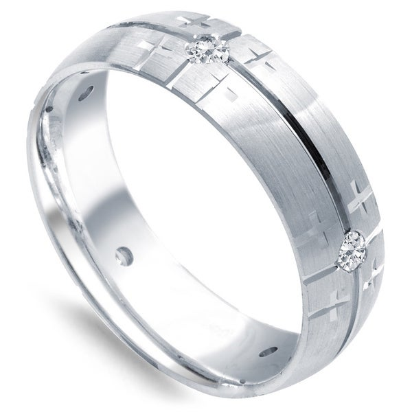 14k White Gold Men's 1/4ct TDW Diamond Cross Design Ring (G-H, SI1-SI2)
