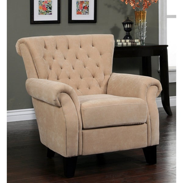 Abbyson Living Roxbury Tufted Cream Fabric Armchair