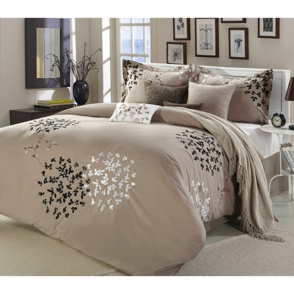 cheila taupe 8 piece comforter set free shipping today. Black Bedroom Furniture Sets. Home Design Ideas