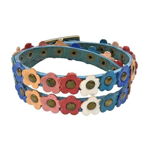 Handmade Floral Leather Double Wrap Bracelet (Thailand)