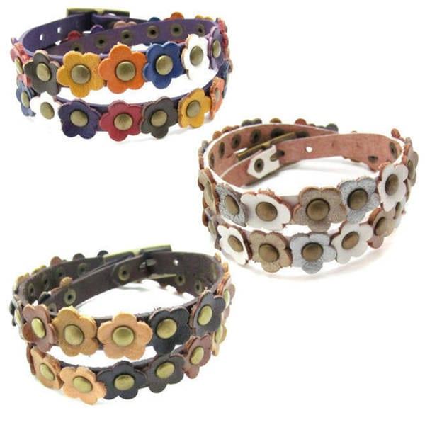 Handmade Mini Floral Delight Leather Double Wrap Bracelet (Thailand)