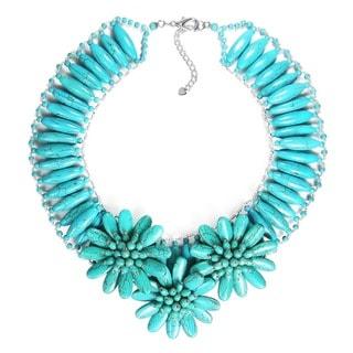 Handmade Captivating Sunflower Garden Turquoise Necklace (Thailand)