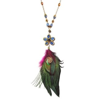 Handmade Chic Blue Star Feather Inspiration Dangle Necklace (Thailand)
