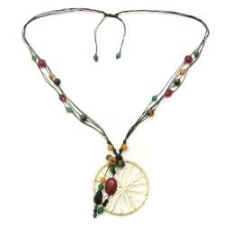 Intricate Golden Enchantment Pendant Multi Stone Necklace (Thailand)