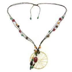 Intricate Golden Enchantment Pendant Multi Stone Necklace (Thailand)