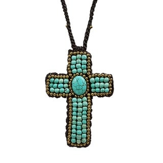 Handmade Innate Cross Turquoise/ Brass Embellished Necklace (Thailand)