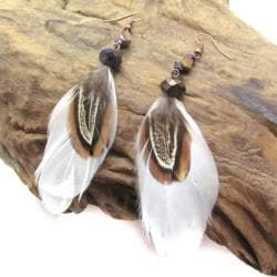 Crystal Adorned Feather Bliss Brass Earrings (Thailand)