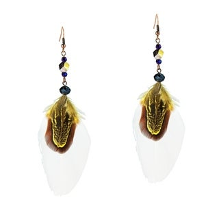 Handmade Crystal Adorned Feather Bliss Brass Earrings (Thailand)
