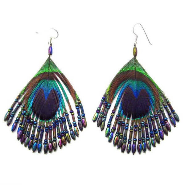Handmade Silk Thread Ruffles Peacock Earrings (Thailand)