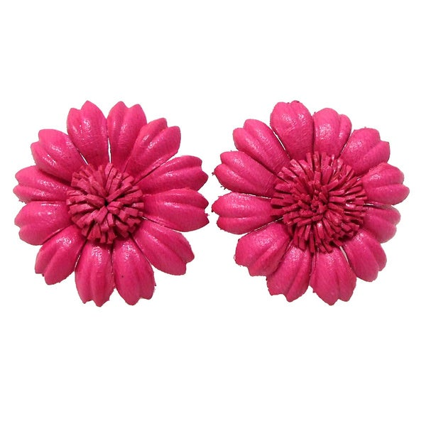 Handmade Pink Sunflower Leather Floral Earrings (Thailand)