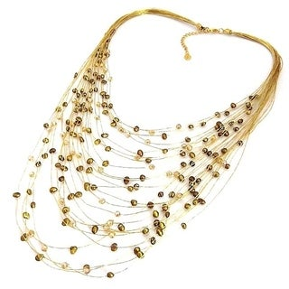 Handmade Golden Layers Freshwater Dyed Green Pearls Necklace (Thailand)