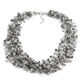 Handmade Pure Beauty Freshwater White Pearls Multistrand Necklace (Thailand)