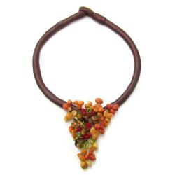 Apple Corals/ Tiger's Eye Triangle Statement Necklace (Philippines)