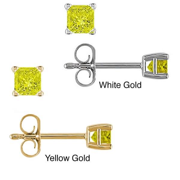 14k Gold 1/4ct to 1ct TDW Yellow Diamond Stud Earrings