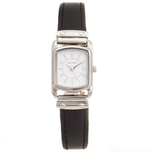 Monument Women's Silvertone Rectangle Case Analog Watch