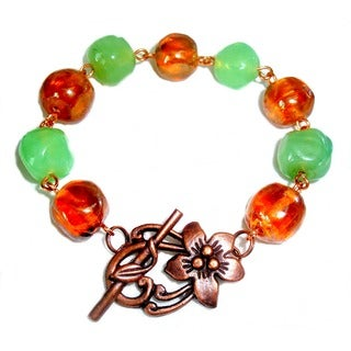 Mint Green Light Orange Bracelet
